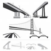 picture of monochromatic  - set of bridges vector silhouette collection isolated on white background - JPG