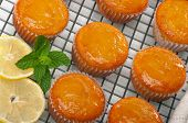 Citrus cupcakes with lemon glaze on cooling rack