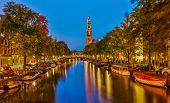 picture of church  - Western church on Prinsengracht canal in Amsterdam - JPG