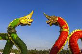 picture of hangul  - Colourful dragon sculptures of Chinese ancient history at Chachoengsao Thailand - JPG