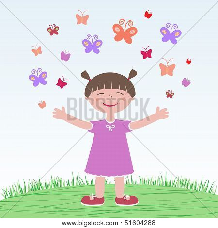 Girl Releasing Butterflies