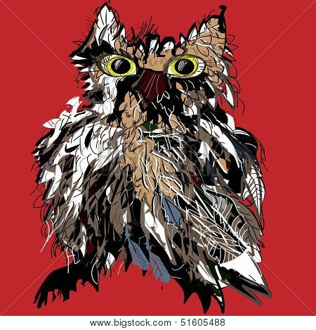 Owl as Halloween symbol for mascot or vector illustration for t-shirt.