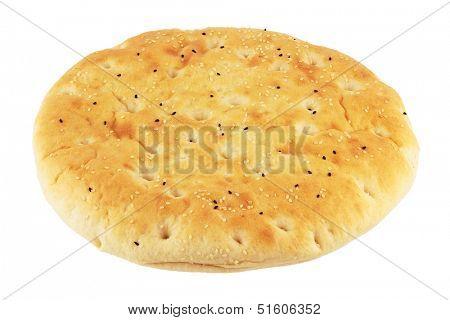 Turkish flat bread isolated on white
