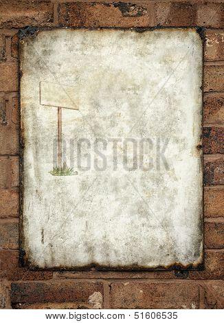 Metal vintage enamel advertisement sign on wall