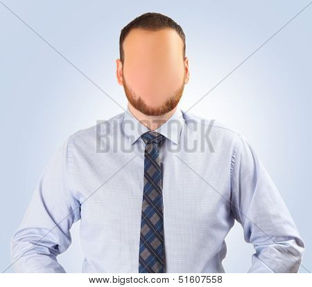 faceless man on blue background