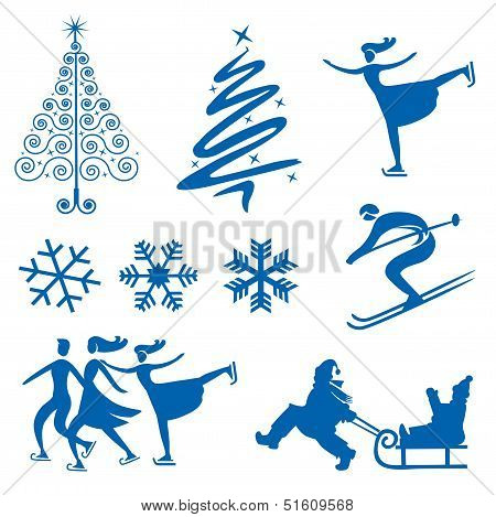Winter christmas design elements.