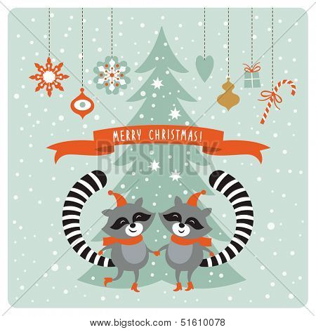 Christmas card with two raccoons
