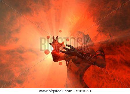Warrior Woman Casting Spell