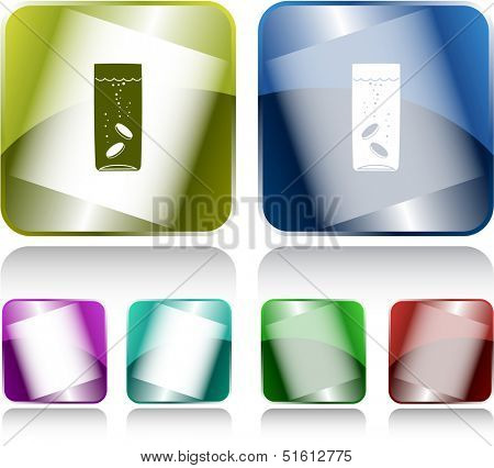 Glass with tablets. Internet buttons. Raster illustration.