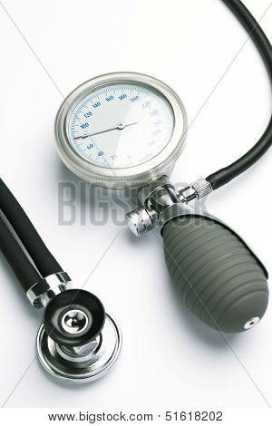 Blood Pressure Meter And A Stethoscope
