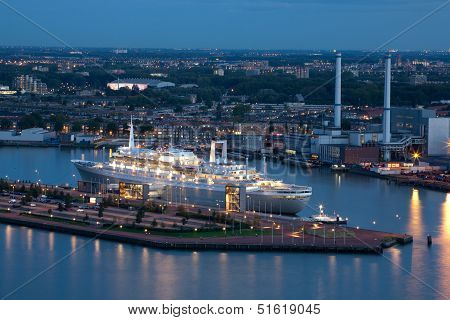 The Retired Ss Rotterdam Cruise Ship At Night