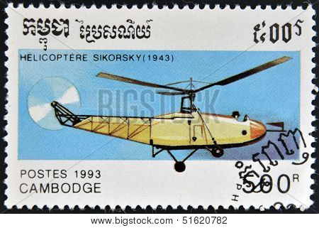 A stamp printed in Cambodia shows Sikorsky helicopter (1943)