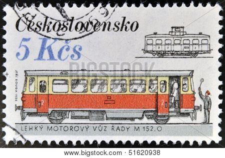 A stamp printed in Czechoslovakia shows streetcars