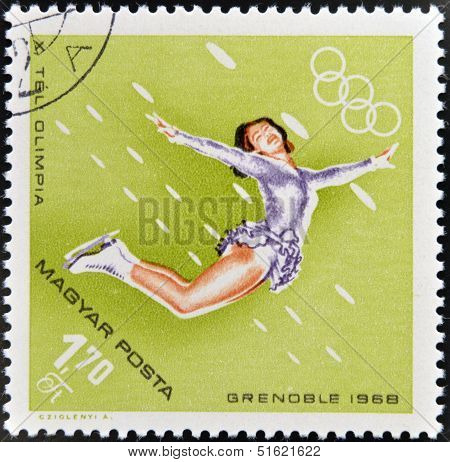 A stamps printed in Hungary showing an athlete in figure skatingWinter Olympic sports in Grenoble 19