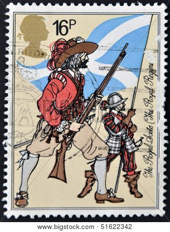 A postage stamp printed in Great Britain showing a drawing of The Royal Scots Royal Regiment