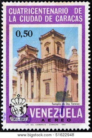 A stamp printed in Venezuela shows Temple of Santa Teresa in Caracas
