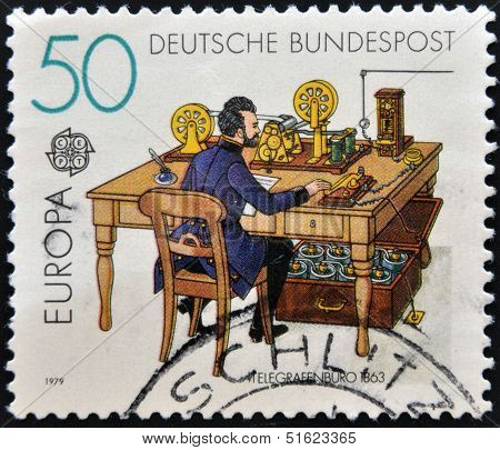 A stamp printed in Germany shows Telegraph office in 1863