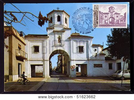 A stamp printed in Spain shos Puerta de Loja in Santa Fe Granada