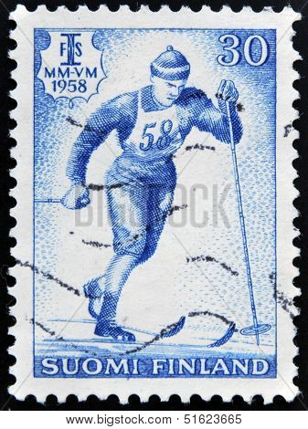 A stamp printed in Finland shows Nordic ski