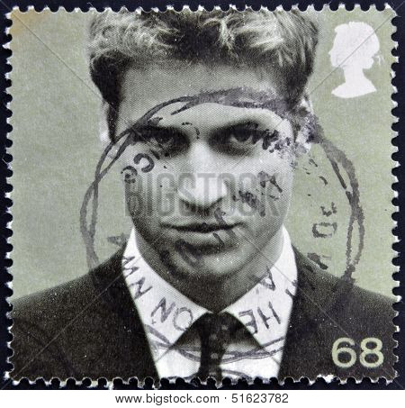 A stamp printed in Great Britain shows Prince William of Wales