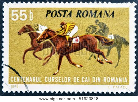 ROMANIA - CIRCA 1974: A stamp printed in Romania shows horse races circa 1974.