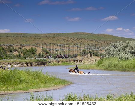 Us Cavalry Soldier Holds On To Horses Tail In River