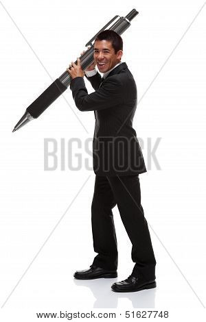 Business Man Holding A Huge Pen To The Side