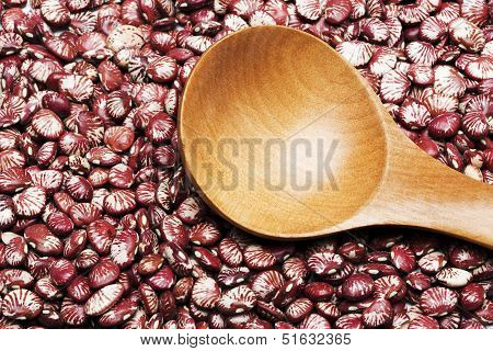 Red Kidney Beans And Wooden Tablespoon