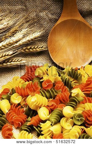 Tricolor Pasta Fusilli Pile On Burlap