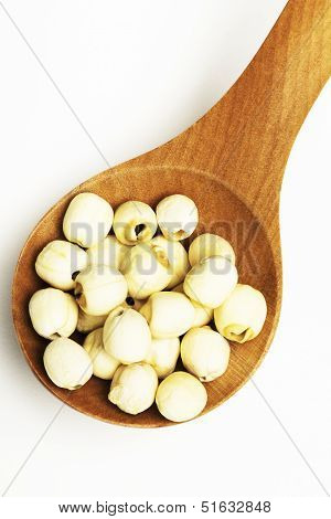 Dry Lotus Seed In Wooden Tablespoon