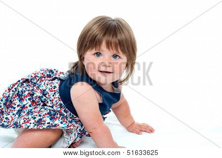 Cute Little Baby Girl Crawling