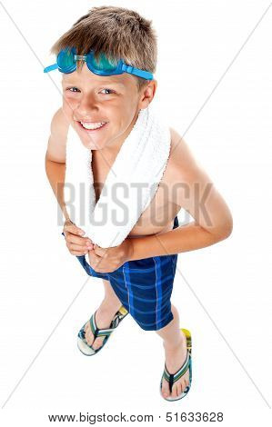 Top Angle Shot Of A Young Kid In Swimming Costume