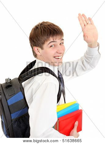 Student With Knapsack Wave Goodbye