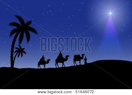 Three wise men and Christmas star