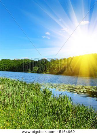 Splendid Sunrise And Small River.