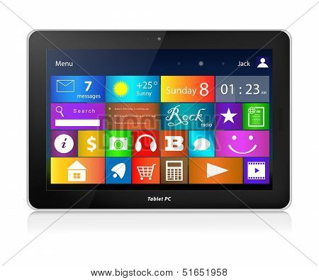 Black Tablet Pc. Metro Interface. Horizontal.