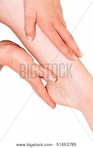 Woman's Hands Being Massaged A Foot