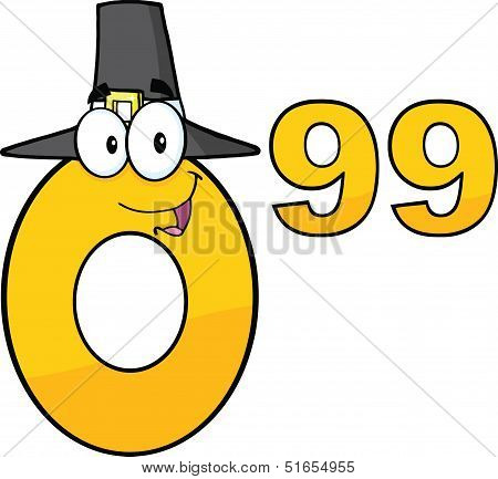 Price Tag Number 0 99 With Pilgrim Hat Cartoon Character