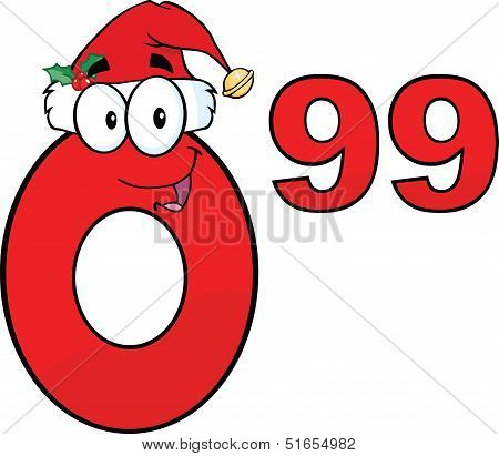 Price Tag Red Number 0 99 With Santa Hat Cartoon Character