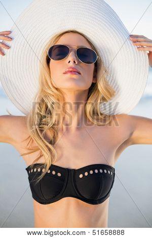 Peaceful sensual blonde in elegant black bikini posing on a beautiful sunny beach