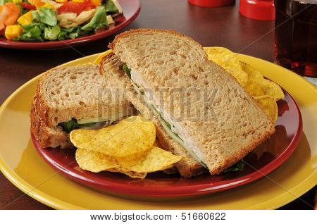 Turkey And Swiss Sandwich With A Salad