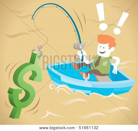 Retro Corporate Guy is fishing for money.