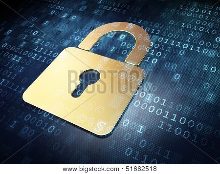 Security concept: Gold Closed Padlock on digital background