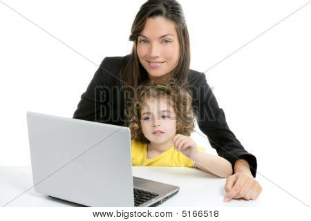 Beautiful Mother And Daughter Laptop Computer