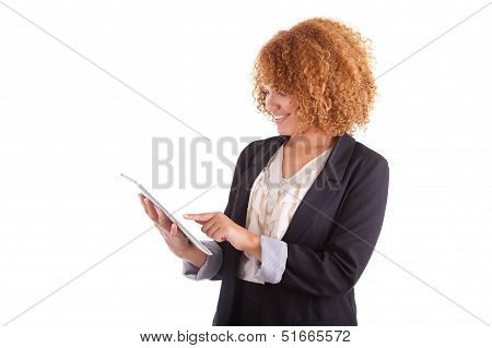 African American Business Woman Using A Tactile Tablet - Black People