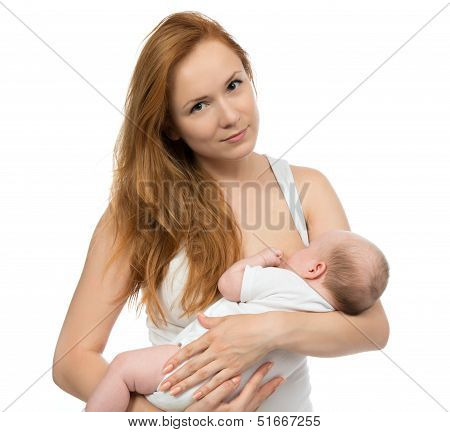 Young Mother Woman Breastfeeding Her Child Baby