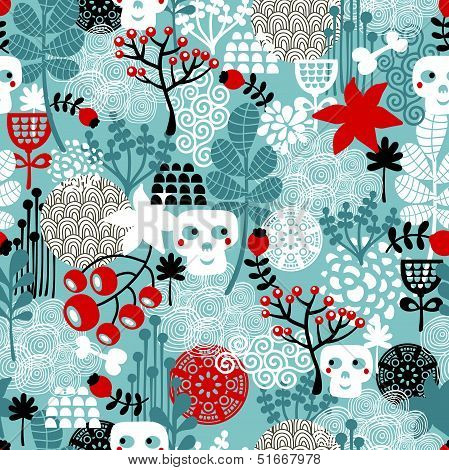 Seamless pattern with skulls and flowers.