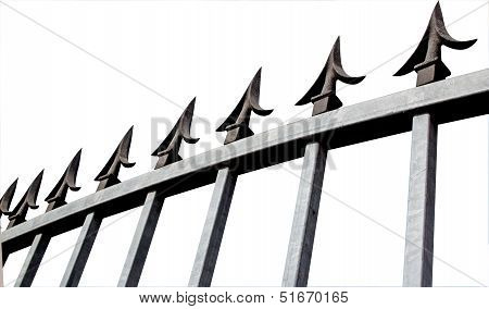 Isolated Angle View Of Galvanised Security Gate And Decorative Spikes