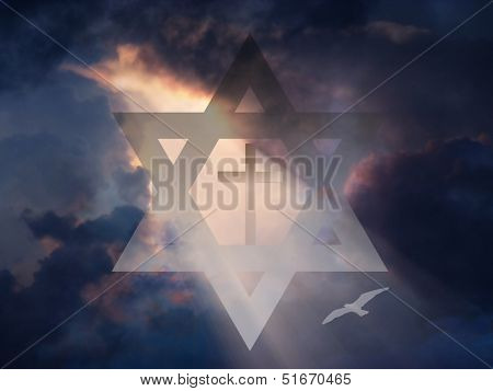 Cross inside Star of David in Sky