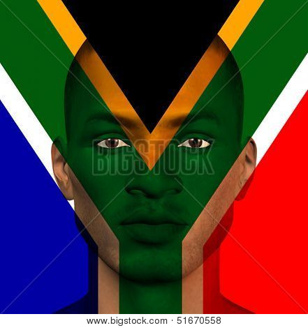 South African flag superimposed upon mans face